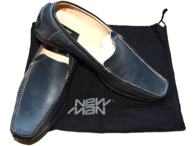 mocassins homme autre marque new man mocassins cuir bleu marine joli closet. Black Bedroom Furniture Sets. Home Design Ideas
