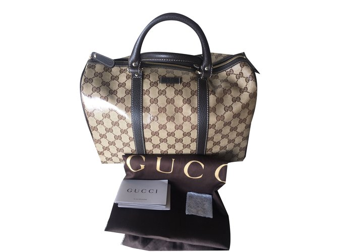 Sacs à main Gucci Sac à main Cuir vernis Marron ref.40112 - Joli Closet 58022a7537541