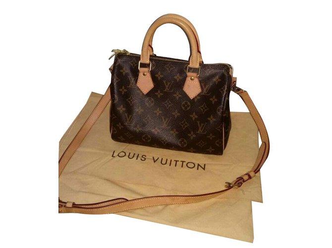 e4f695a035a Sacs à main Louis Vuitton Speedy 25 bandouliere Toile Marron ref.40169