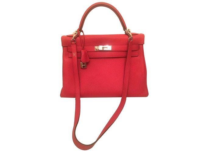 59fc954e1e62 Hermès Hermes Kelly 28 Rouge Togo Handbags Leather Red ref.40213 ...