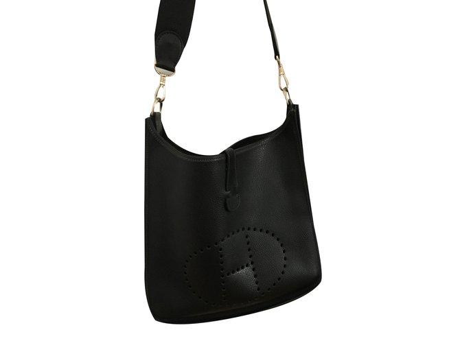 465bbb568715 ... bag efd68 5cdee  reduced hermès hermes evelyne gm totes leather black  ref.40224 c6d53 df510