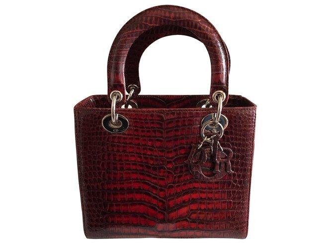 159ff741fe5b Christian Dior Lady Dior Red Crocodile Medium Handbags Exotic leather Dark  red ref.40253