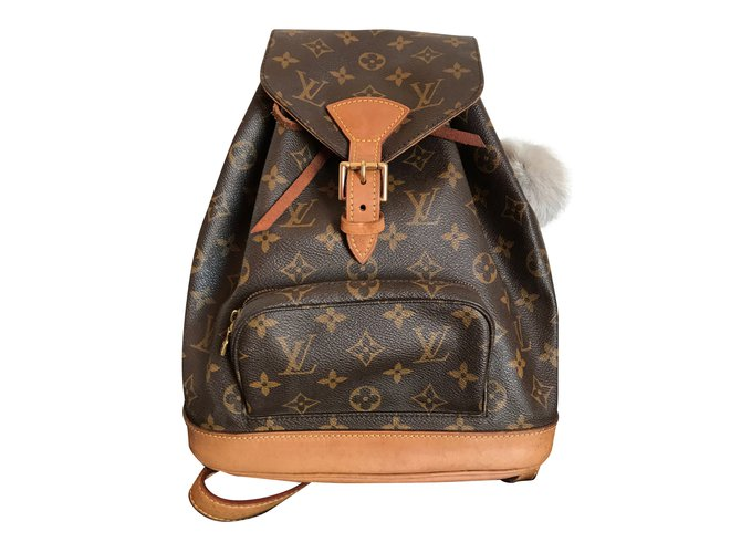 496feeb68881 Sacs à dos Louis Vuitton Sacs à dos Montsouris MM Canvas Monogram  Cuir,Autre Marron