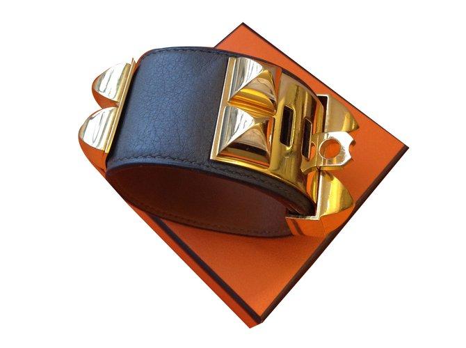 Bracelets Hermès COLLIER DE CHIEN HERMES ETAIN Cuir Gris anthracite ref.40621