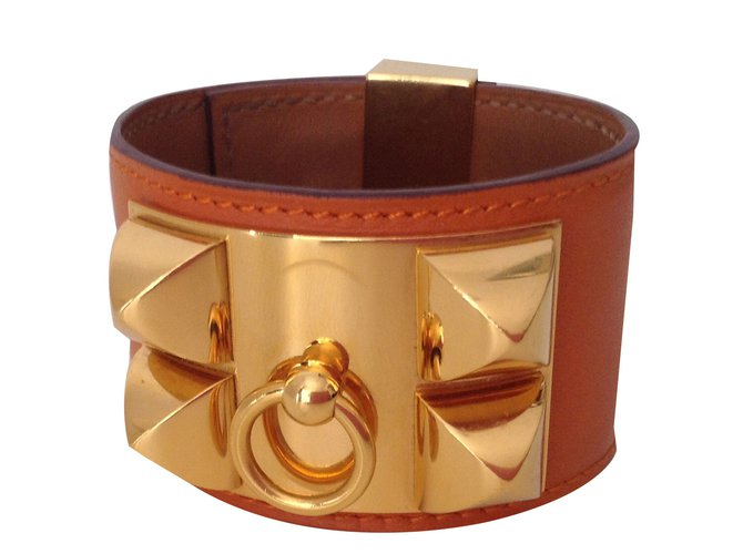 Hermès Collier De Chien Bracelets Leather Orange Ref 40627