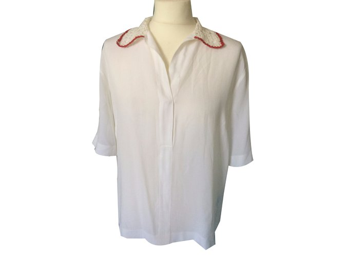 f9454559151ce6 Sandro short-sleeved blouse Tops Silk White,Red ref.40670 - Joli Closet