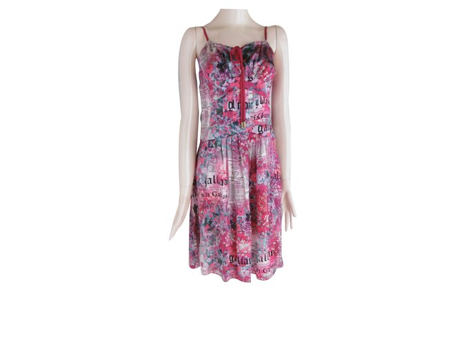 cb0dedde John Galliano John Galliano Newspaper Print Silk Dress Dresses Silk  Multiple colors ref.40719
