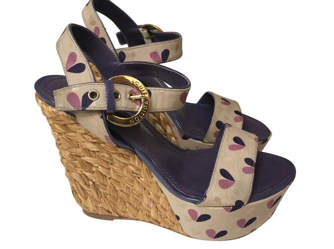 Louis Vuitton Sandals Sandals Leather,Cloth Multiple colors ref.40843