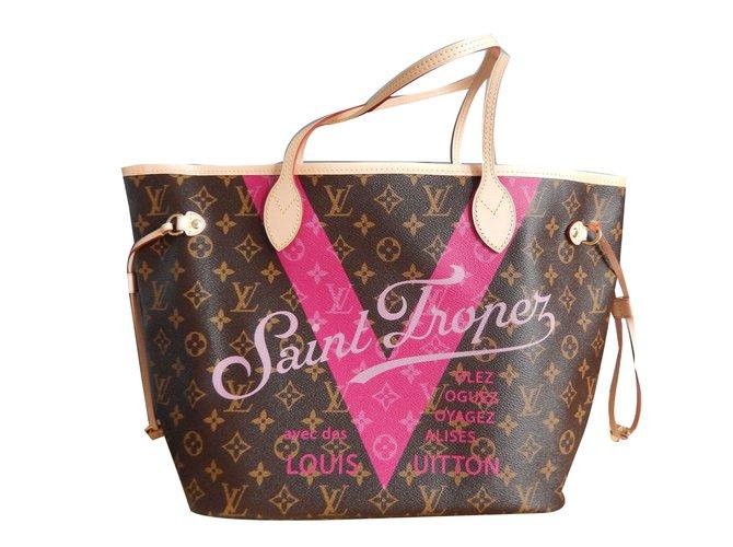 Louis Vuitton Neverfull MM Louis Vuitton Limited Edition St Tropez Handbags  Cloth Light brown ref. 728e2012695
