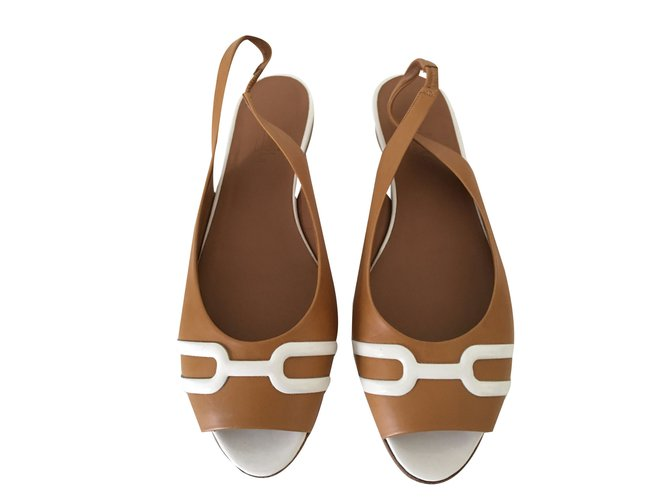 Hermès Sandals Sandals Leather Caramel ref.40916