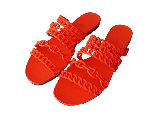 667e883ea5f5 Hermès Hermes Nude Jelly Sandals Sandals Rubber Red ref.41095 - Joli ...