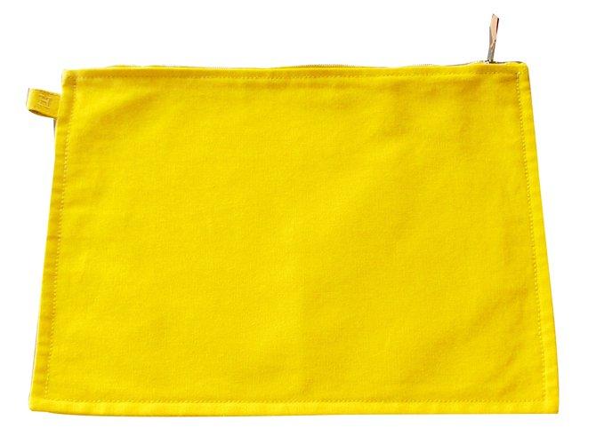 Hermès Clutch bag Clutch bags Cotton Yellow ref.41106