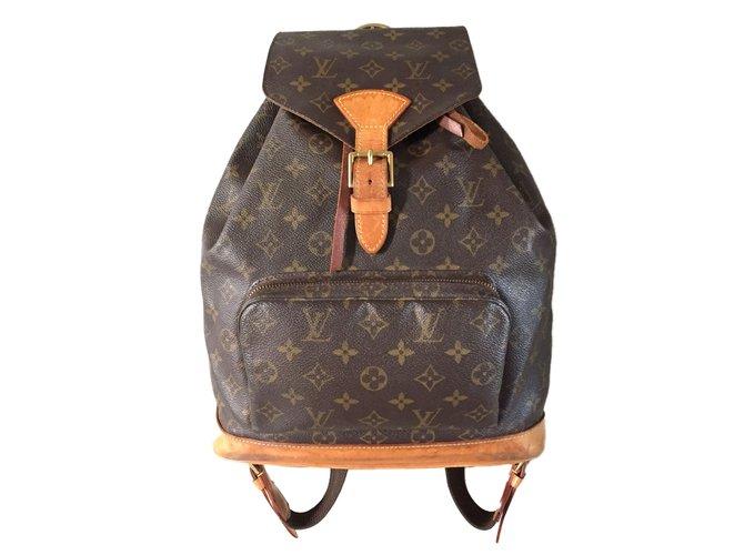 013c6dd994d4 Sacs à dos Louis Vuitton sac à dos MONTSOURIS Louis Vuitton Synthétique  Marron ref.41157