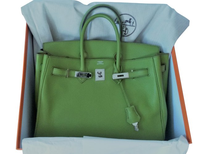 45d311dfff3f Hermès Birkin 35 Handbags Leather Green ref.41190 - Joli Closet
