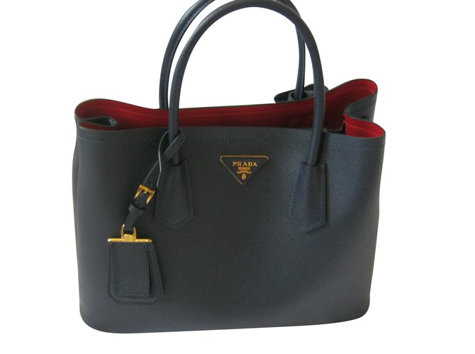 Prada double bag saffiano handbags leather blue ref joli closet jpg 670x500 Sac  prada 270df9b2109