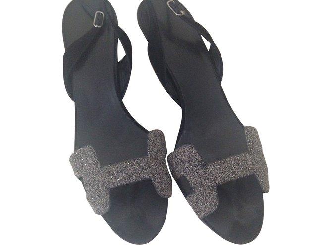 Sandales Hermès NIGTH 7 Daim Noir ref.41272