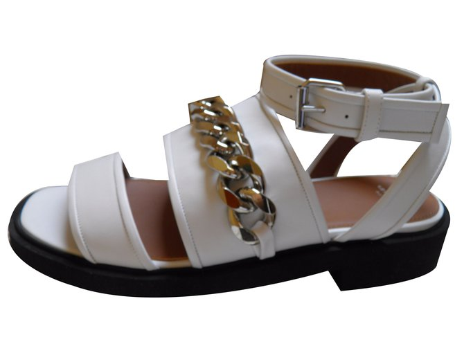 e9463531c552 Givenchy Sandals Sandals Leather White ref.41288 - Joli Closet