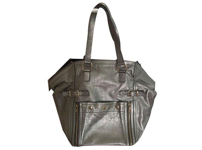 Yves Saint Laurent Handbag Handbags Leather Silvery Ref 41320
