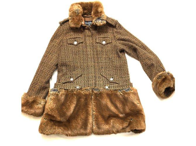 Manteaux Chanel Manteau Coton,Acrylique Marron ref.41357