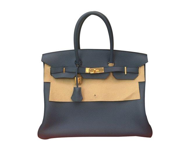 Sacs à main Hermès Birkin 35 Cuir Bleu ref.41367