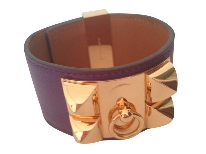 Bracelets Hermès Collier de chien Cuir Violet ref.41368