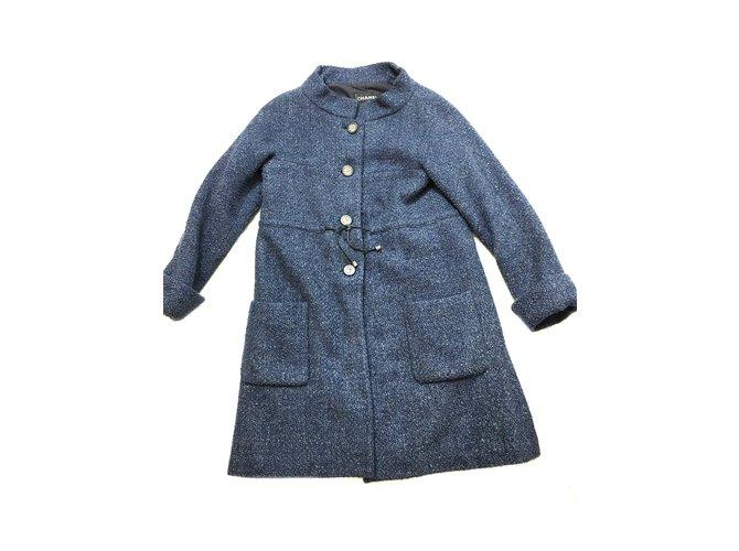 Manteaux Chanel Manteau Laine Bleu ref.41390