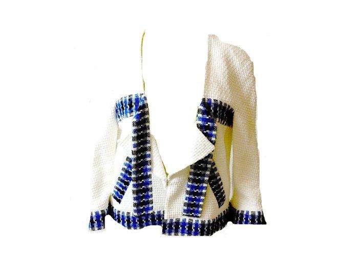 Chanel Jacket Jackets Cotton White,Blue ref.41402