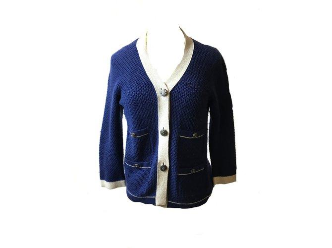 Chanel Cardigan Knitwear Cashmere Blue ref.41414