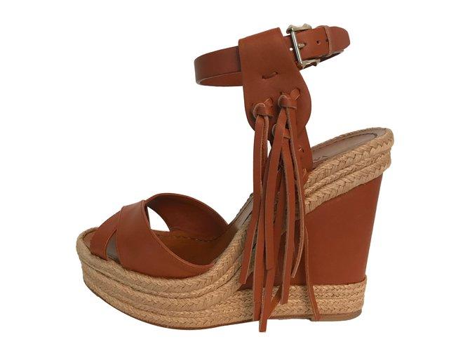 568b0c3775d Valentino Sandals Sandals Leather Brown ref.41433 - Joli Closet