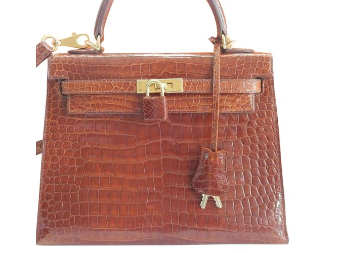 4f0b8fbd5e Hermès Hermes kelly 25 cm crocodile   porosus Handbags Exotic leather Brown  ref.41514