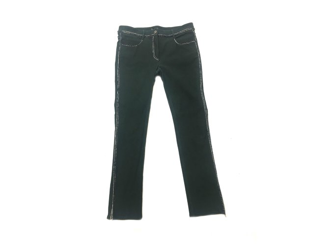 Chanel Pants, leggings Pants, leggings Cotton Green ref.41534