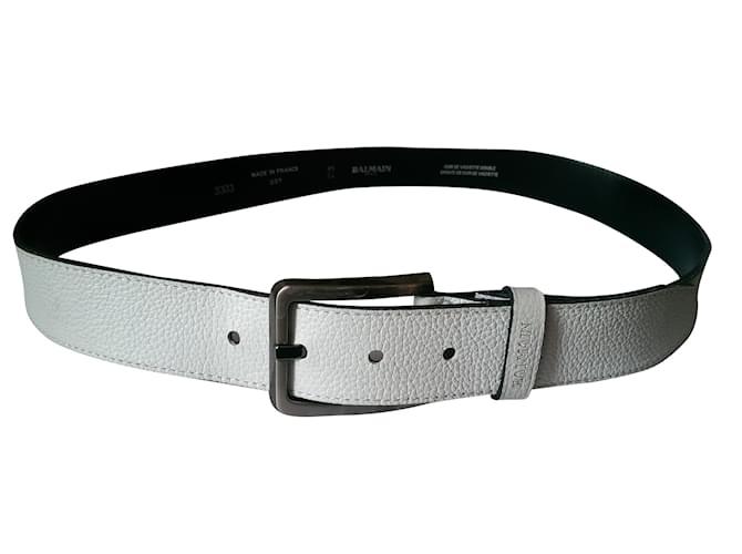 Balmain Belt Belts Leather White ref.41559