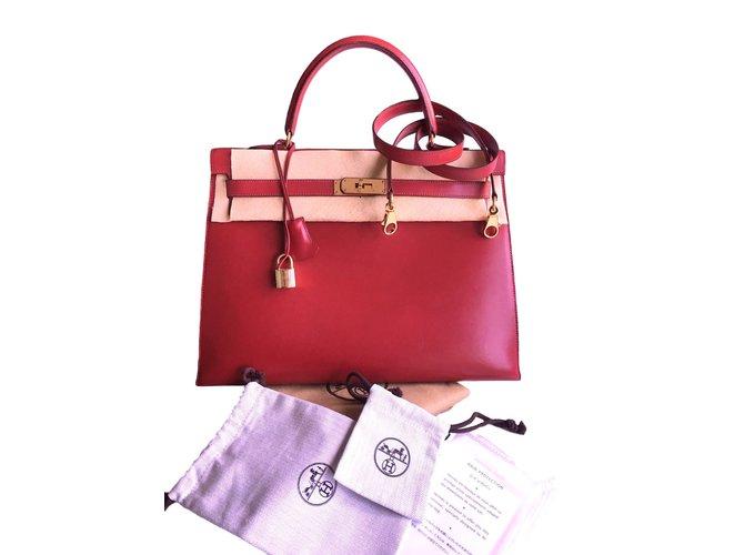 823e19ea61 Sacs à main Hermès Sac HERMES Kelly box rouge 35 cm Cuir Rouge ref.41716
