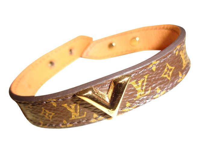 Bracelets Louis Vuitton Bracelet Toile Marron ref.41726
