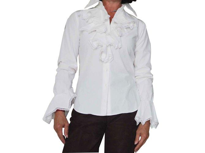 tops anne fontaine chemise jabot dentelle anne fontaine coton blanc joli closet. Black Bedroom Furniture Sets. Home Design Ideas