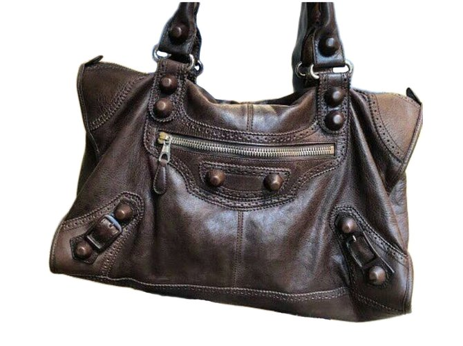 7b95bc2408 Balenciaga Lambskin Leather Giant 12 Silver Motorcycle City Bag Handbags  Leather Brown ref.41787