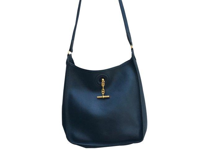5ae436b9d6 Sacs à main Hermès Vespa Cuir Bleu Marine ref.41840 - Joli Closet