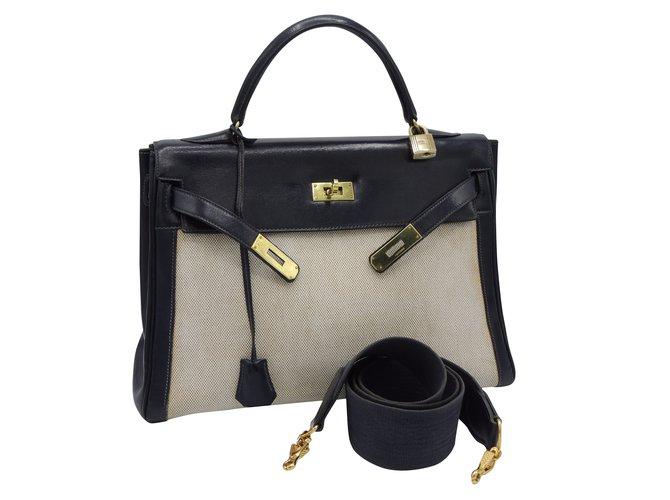 e3d0e2520e5 Sacs à main Hermès Kelly 32 toile et cuir bandouliere Toile Bleu Marine  ref.41884