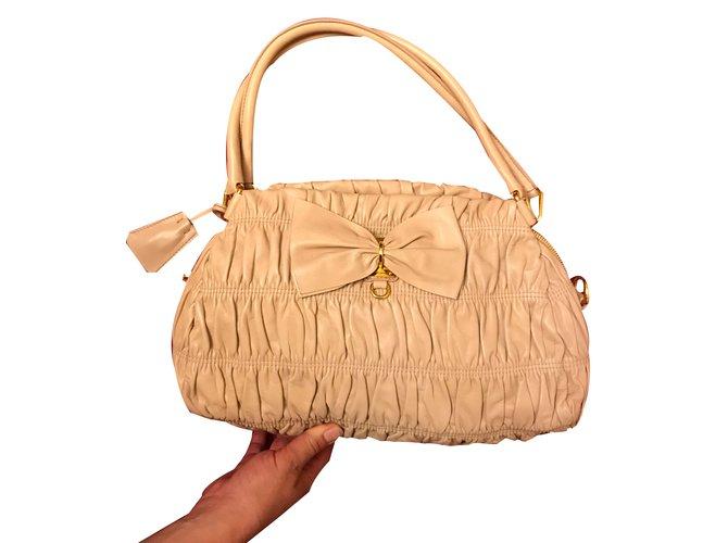 ad35eea899 ... official prada handbag handbags leather cream ref.41970 e448b d4577