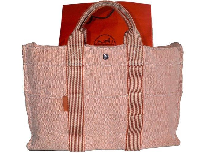 Cabas Hermès TOTO Coton Pêche ref.42306