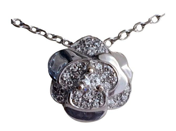 Chanel pendant camlia pendant necklaces white gold metallic ref chanel pendant camlia pendant necklaces white gold metallic ref42346 aloadofball Choice Image