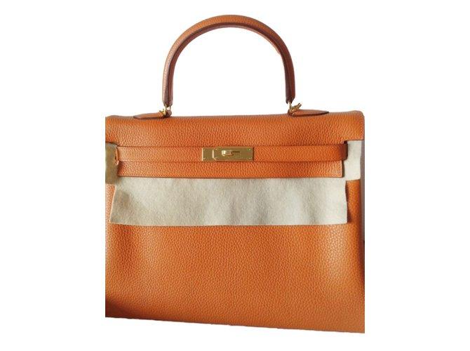 Kelly Hermès Handbags Orange Leather  ref.42426