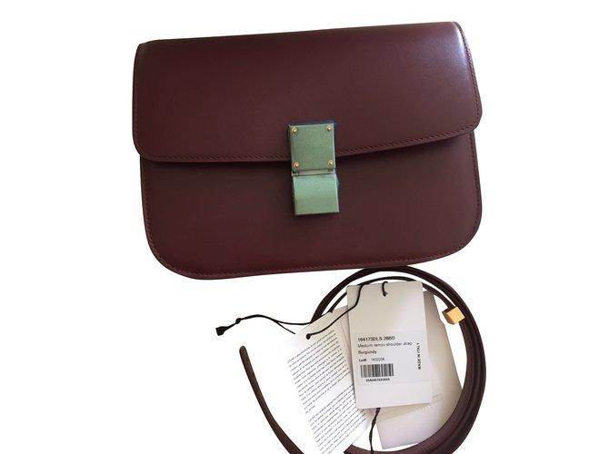 3f36502fed Céline Celine classic box Bordeaux Handbags Leather Dark red ref.42497