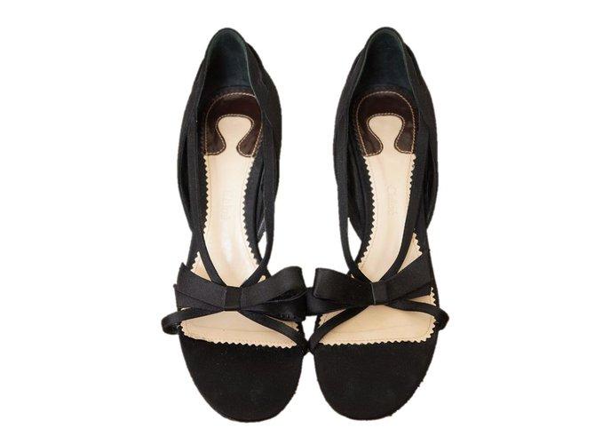 Chloé Sandals Sandals Satin Black ref.42589