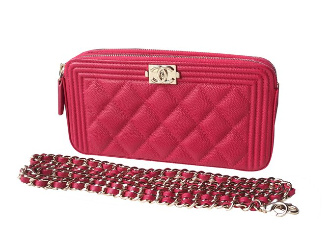 89bc2daa77e5 Chanel Chanel Boy clutch/wallet with chain (WOC) in Handbags Leather Pink  ref