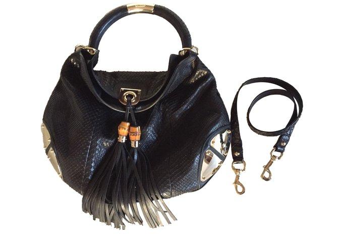 4d94d8643 Gucci Gucci Indy Handbags Exotic leather Black ref.42701 - Joli Closet