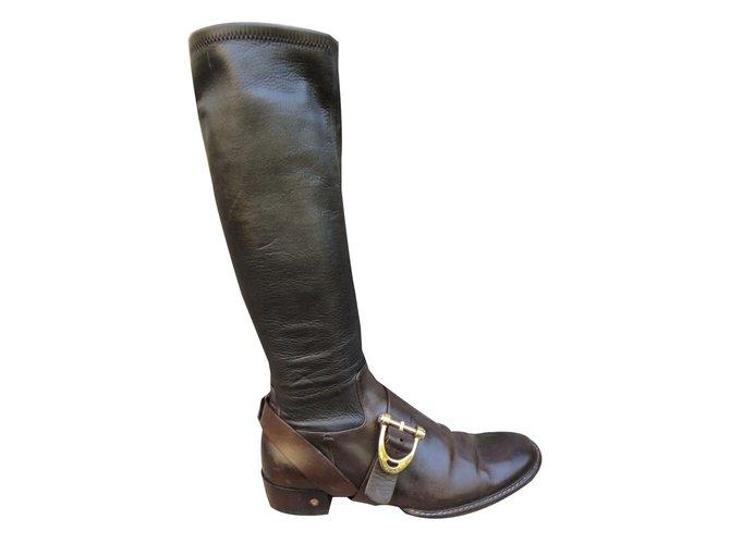 Céline Boots Boots Leather Dark brown ref.42730
