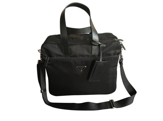f3d3e49c1e40 Prada Prada briefcase Bags Briefcases Nylon Black ref.42832 - Joli ...