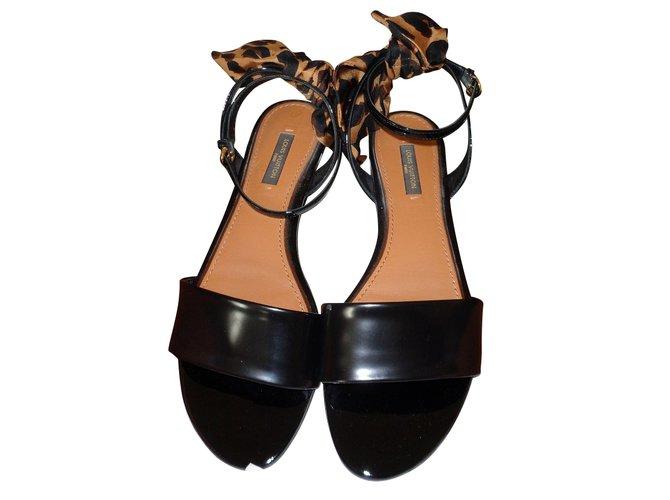 ece0bbc48 Louis Vuitton full sail flat sandal Sandals Leather Black ref.42834 ...