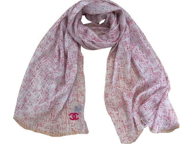 Chanel Scarves Scarves Cashmere Pink ref.42851